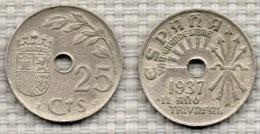 SPANIEN 25 Centimos 1937. - [ 3] 1936-1939 : Guerre Civile