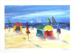 """X Serge Desnoyers """"Giochi Di Spiaggia"""" Serigrafia Materica - Cm.40x30 - Litografia"""