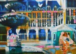 """X Paul AMBILLE """"Paris - Place Des Vosges"""" Litografia A Colori Pastello - Cm.45x62 - Litografia"""