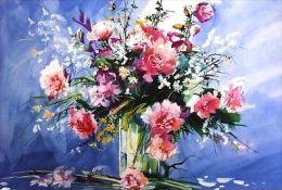 """X Roche """"Bouquet Di Fiori"""" Serigrafia Materica - Cm.75x55 - Litografia"""