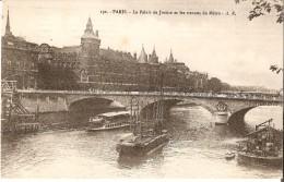 PARIS (75, 1er Arr.) - Travaux Publics : Palais De Justice, Seine, Travaux Du Métro. Belles Dragues Au Travail. - Métro Parisien, Gares