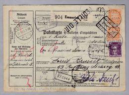 Heimat De NW. Emmerich 1928-01-21 Paketkarte Nach Bruxelles - Briefe U. Dokumente