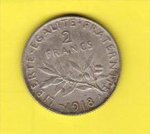 Monnaies  2.francs Semeuse, Année,1918.  Argent. - Frankreich