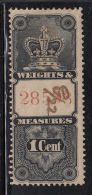 Canada Used Van Dam #FWM13 Weights & Measures 1c Black With Red Numbers At Centre - Fiscaux