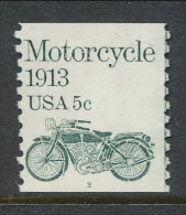 USA 1983 Scott # 1899. Transportation Issue: Motorcycle 1913, MNH (**), Single P#3 - Coils (Plate Numbers)