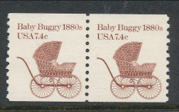 USA 1984 Scott # 1902. Transportation Issue: Baby Buuggy 1880s, MNH (**) Pair - Coils & Coil Singles