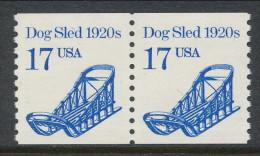 USA 1986 Scott # 2135. Transportation Issue: Dog Sled 1920s. Pair, MNH (**). - Coils & Coil Singles