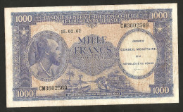 [NC] CONGO BELGE - BANQUE CENTRALE Du CONGO BELGE Et Du RUANDA-URUNDI - 1000 FRANCS (1962) - [ 5] Belgian Congo