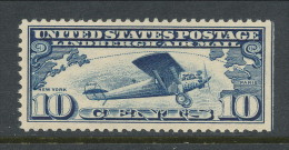 USA 1927 Scott # C10, Air Mail: Spirit Of St. Louis,  3 Side Perforated, MNH (**) - 1b. 1918-1940 Unused