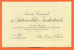 "Carte De Visite  ""  Societe Generale Des Automobiles Industriels Paris "" - Cartoncini Da Visita"