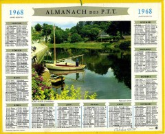 CALENDRIER ALMANACH DES  POSTES 1968  OBERTHUR PONT AVEN FEUILLETS DEPT 51 - Calendriers