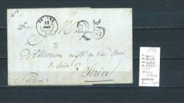 Lettre  Avec Précurseur Convoyeur Au Verso : Service Intermédiaire Paris- Lyon- 1853-Indice 11 - Postmark Collection (Covers)