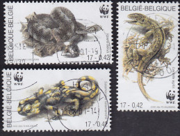 Belgique: WWF Amphibiens Et Reptiles Vipéra Berus 2895. Lacerta Agilis 2496. Salamandra Salamandra 2898 - Reptiles & Batraciens