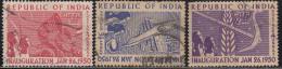 India 3v Republic Used (sample Image) - 1950-59 Republic