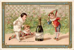 """Chromo """"Au Bon Marché"""" 3 Enfants En Costume De Pierrot, Polichinel Et Arlequin Devant Une Bouteille De Champagne. - Au Bon Marché"""