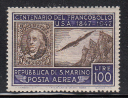 San Marino MNH Scott #C55 100l US No. 1 And Mt Titano - Poste Aérienne