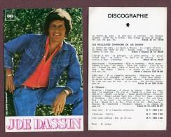 """"""" JOE DASSIN """"  CBS - Chanteurs & Musiciens"""