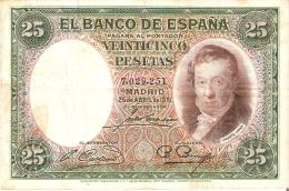 BILLETE DE ESPAÑA DE 25 PTAS DEL AÑO 1931 EN CALIDAD BC SIN SERIE - 25 Pesetas
