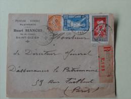 Devant De Lettre  Jeux Olympiques Paris 1924 Affranchie 50c Bleu 30c Rouge Et 5c Semeuse Pour Mr Bianchi St Dizier