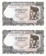 PAREJA IMPAR DE 500 PTAS DEL 23/07/1971 SERIE V  SIN CIRCULAR-UNCIRCULATED - [ 3] 1936-1975 : Régimen De Franco