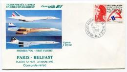 ENVELOPPE CONCORDE PREMIER VOL PARIS - BELFAST  VOL AF 4859 DU 25 MARS 1990 - Concorde