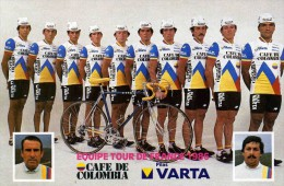"""CYCLISME  """" EQUIPE  CAFE  COLOMBIA  1986    CPSM / CPM  10 X 15  TTBE - Cycling"""