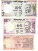 India - Indien - 3 Banknotes - 100 Rupees Letter S - 50 Rupees Letter R - 10 Rupees Letter S - India