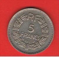 FRANCIA - FRANCE = 5  Franc  1935  KM888 - J. 5 Francos