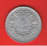 FRANCIA - FRANCE = 5  Franc  1950  KM888b1 - J. 5 Francos