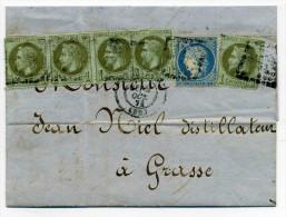Aff Dit De Septembre 71 / Siège 20c+ 5x 1c Napoléon  Lauré / T17 BORDEAUX - Dept 32 Gironde / 8 Oct 1871 - Marcophilie (Lettres)