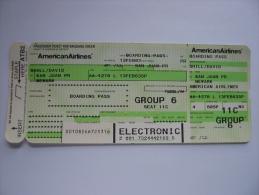 American Airlines Boarding Pass Card San Juan Puerto Rico - Newark - Titres De Transport