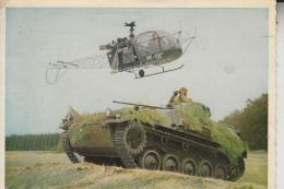 MILITÄR - PANZER / TANK / Chars, HS 30 & Helikopter, Bundeswehr, 1963, Druckstelle - Ausrüstung