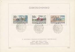 Czechoslovakia / First Day Sheet (1975/12 B) Praha: Historical Motorcycles (CZ, Jawa, Laurin & Klement), Kamil Lhotak - Motorbikes