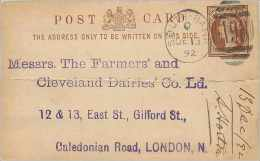 Entier Postal Postal Stationary Grande Bretagne Great Britain South Bank 1892 - Entiers Postaux