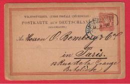 ALLEMAGNE  //  ENTIER POSTAL DE STOLLBERG  // POUR PARIS  //  1889 - Ganzsachen