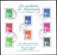 France Oblitération Cachet à Date BF N°  42 (3083 + 3091 à 3096 + 3098)  Les Couleurs De Marianne - Blocks & Kleinbögen