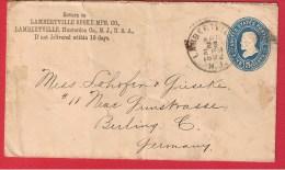 USA //  ENTIER POSTAL DE LAMBERTVILLE   //  POUR BERLIN   //  23 AVRIL 1892