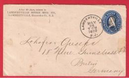 USA //  ENTIER POSTAL DE LAMBERTVILLE   //  POUR BERLIN   // 26 MAI 1900