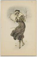 Belle Femme Viennoise Scene Neige Fourrure - Donne