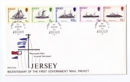 Enveloppe Philatélique Premier Jour, Jersey, Bicentenaire Service Postal Maritime Jersey - Grande Bretagne, 1978 - Bateaux