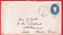 USA //  ENTIER POSTAL  //  KALAMAZOO  //  POUR CHATEAUROUX  //  JANV 1893 - Entiers Postaux