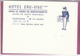 04400 .- HÔTEL EAU-VIVE  LE SAUZE DE BARCELONNETTE - Cartes De Visite