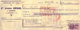 SAVOIE - COGNIN - COUTELLERIE DES ALPES - JOSEPH OPINEL - MANDAT - 1938 - Bills Of Exchange