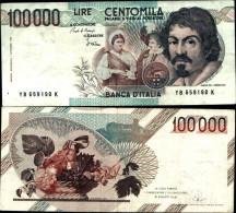 239)banconota 100 Mila Banca D'italia Caravaggio Buona - [ 2] 1946-… : Repubblica