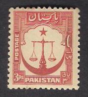 PAKISTAN 1948 Scale Of Justice 3 Pies, MNH - Pakistan