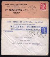 Dpt.95 / MARINES & BOISSY L'AILLERIE / 2 Enveloppes / Entete Commerciale Vins & Spiritueux / SEINE & OISE - Bolli Manuali