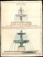 Planche (Vers 1850) - Fontaines Publiques, Place Des Vosges, Place St Georges, Paris. - Architecture