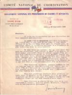 MILITARIA - COMITE NATIONAL DE COORDINATION - MOUVEMENT NATIONAL DES PRISONNIERS DE GUERRE ET DEPORTES - 1945 - Documents