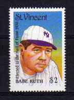 St Vincent - 1988 - Famous Baseball Players/Babe Ruth (1st Series) - MNH - St.Vincent (1979-...)