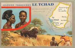 pays div- afrique - ref B361- le tchad - publicit� cirage le lion noir - carte bon etat  -